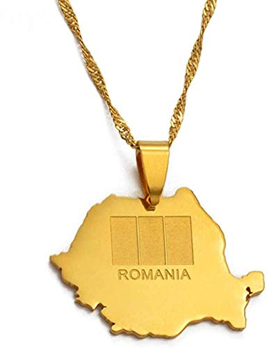 BACKZY MXJP Collar Colgante Y Collar De Mapa De Rumania, Regalos De Joya Rumana De Moda De Color Dorado Collar