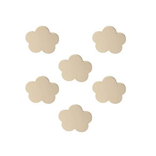 6 Un. TIRADOR Pomo Mueble BEBÉ Nube madera lacada beige claro arena 68x58mm