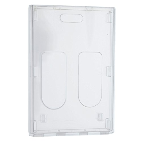 Heavy Duty Crystal Clear 2 Card Badge Holder (Holds Two Cards) - Vertical Dual Sided Card Cases - Polycarbonate Rigid/Hard Plastic with Secure Top Load by Specialist ID (1 Single Item)