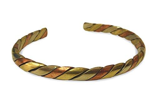 Schmuck Armreif aus Metall Kupfer, Messing, Weißmetall gedreht, 3-Metall Armband Armschmuck Armreifen handgefertigt