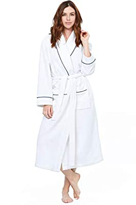Jones New York Women's Bathrobe Long Sleeve Soft Comfortable Spa Robe, White, Large/X-Large by Jones New York
