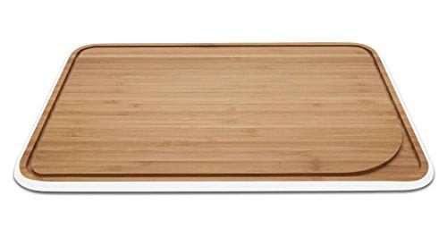 Pebbly NBA098 Planche à Découper avec Rigole Moyen, Bambou, Blanc, 25,35 x 35 x 1,5 cm