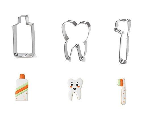 Astra shop 3-teiliges Ausstechformen-Set für Zahnbürsten und Zahnpasta, aus robustem Edelstahl