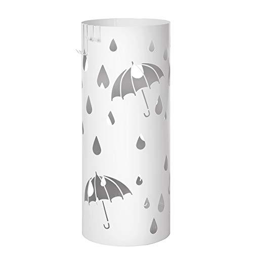 SONGMICS Regenschirmständer aus Metall, runder Schirmständer, Wasserauffangschale herausnehmbar, mit Haken, 49 x Ø 19,5 cm, weiß LUC23W