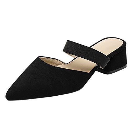 Aniywn Women's Pointed Toe Block Heeled Strappy Slip-On Flat Mule Shoes Non-Slip Pumps Loafers Sandal Shoes Black