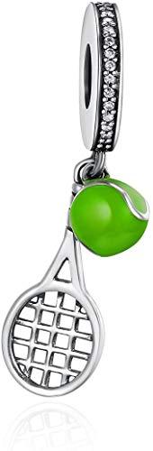 Ciondolo a forma di racchetta da tennis e palla per braccialetti in argento Sterling 925 con charm sportivo per tennisti. e Argento, colore: Verde, cod. Tennis Charm