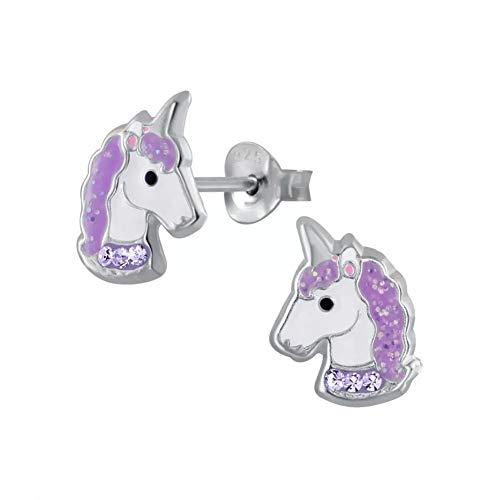 Laimons - Pendientes infantiles de plata de ley 925, diseño de unicornio, color lila