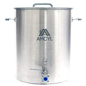 15 Gallon Brew Kettle Stainless Steel with Lid and Ball Valve - Restaurant Grade