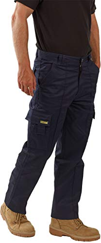 SITE KING Mens Cargo Combat Work Trousers Sizes 28 to 56 with Button & Zip Fly (34 Waist / 31) Navy