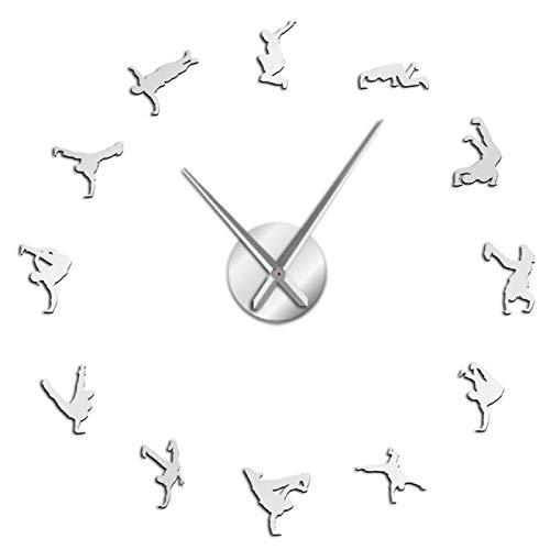 hufeng Reloj de Pared Break Dancing Diseño Moderno Reloj de Pared Grande DIY Hip Hop Decoración del hogar Reloj de Pared Espejo acrílico Pegatinas Breaking Dancer Gift