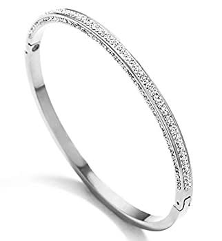 Silver tone Titanium Stainless Steel Pave Oval Hinged Bangle Bracelet with Cubic Zironia Simulate Diamond size 6.5   Silver