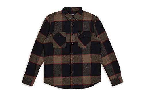 BRIXTON Apparel Bowery L/S Flanella da Uomo, Uomo, Apparel, 01000, Melange Grigio/Carbone, M