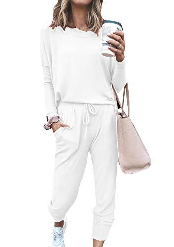 EFOFEI Conjunto de pijama para mujer casual de Navidad a rayas superior e inferior camiseta + pantalones a cuadros de cuello redondo largo