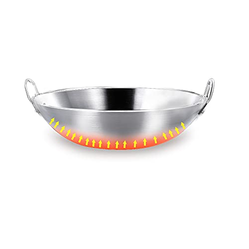 HIOVIOSS Small Wok 10', Stainless Steel Alcohol Hotpot, Camp Stove Cooking Pan, Round Chafing Dishes Saute Pot for Sichuan Food