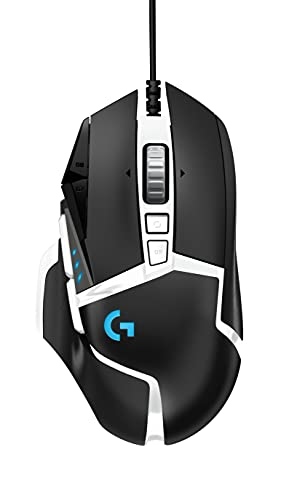 Logitech G502 Hero High Performance Gaming Mouse Special Edition, Hero 25K Sensor, 25 600 DPI, RGB, Adjustable Weights, 11 Programmable Buttons, On-Board Memory, PC/Mac - Black/White