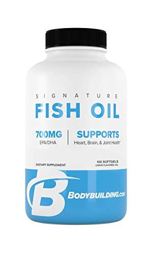 Bodybuilding Signature Fish Oil Lemon Softgels | 400 MG EPA 300 MG DHA | Omega-3 Supplement | Brain Heart Joint Health | 100 Count Hawaii