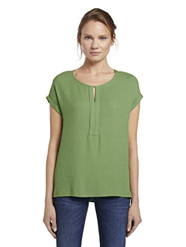 TOM TAILOR Damen T-Shirts/Tops T-Shirt aus Chiffon Sundried Turf Green,L