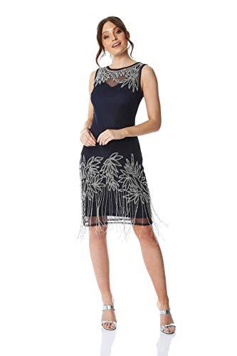 Roman Originals Vestido negro para mujer, con detalles en flapper, para mujer, estilo art década de 1920, Charleston con lentejuelas, con flecos, sin mangas, hasta la rodilla