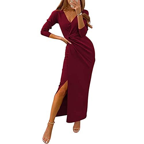 Yassiglia Vestidos de mujer elegantes de noche, de invierno, de fiesta, de manga larga con cuello en V, Vino rojo, L