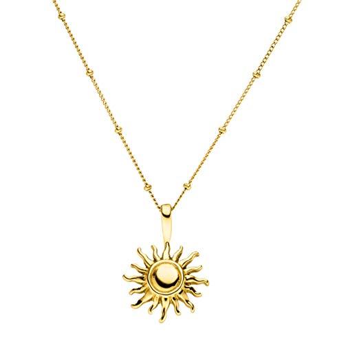 PURELEI® Sun Halskette Damen aus Edelstahl (Gold), mit Sonne Anhänger (50-55 cm Länge, verstellbar) Schmuck wasserfest