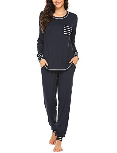 Ekouaer Women's Pyjama Set Long Sleeve Sleepwear with Pockets Pullover Sleepwear Soft Pjs Lounge Sets S-XXL, navy blue, S