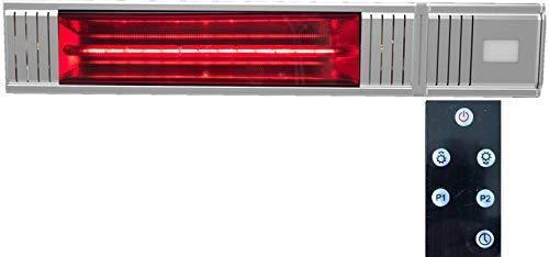 Millarco 58632 Golden-Tube - Calefactor eléctrico para terraza, incluye mando a distancia para montaje en pared, balcón, jardín de invierno, foco infrarrojo para pared