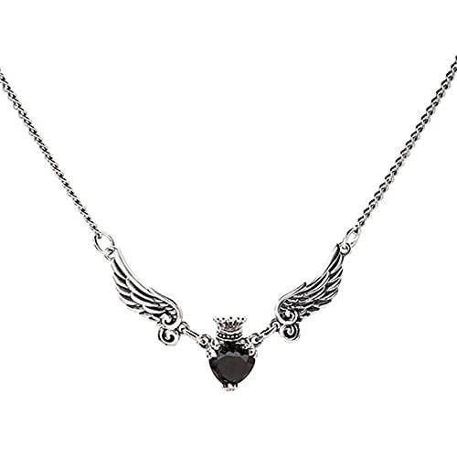 LKHJ Corazón Negro Circón Collar para Mujeres Thai Silver Color Collar Joyería Vintage