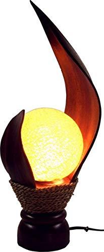 Deko-Leuchte LOTUS KARIMA, Tisch-Lampe aus Natur-Materialien, Stimmungsleuchte