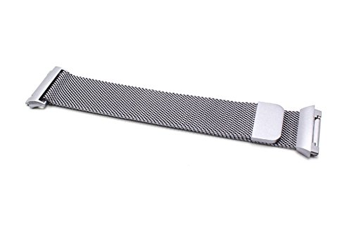 vhbw Ersatz Armband 23.5cm Magnetverschluss passend für Fitbit Ionic Fitness Uhr, Smart Watch - Edelstahl grau