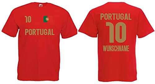 Portugal Herren T-Shirt mit Wunschname-Wunschnummer EM 2020 Trikot Look Rot XL