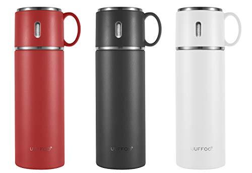 Thermoskanne Kaffee Tee Thermoflasche mit Becher Auslaufsicher Vakuumisolierter Trinkflasche für Sport Büro Schule 420ml Schwarz