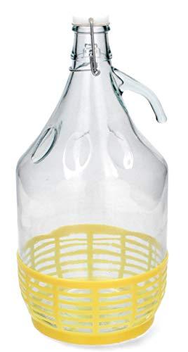 KADAX Weinballon, Glasballon für Wein, schmale Öffnung, Gärballon, Gallone, Gärbehälter, Flasche, Glasflasche, Glasgärballon, Gäreimer, Ballon mit Korb aus Kunststoff (5L, Bügelverschluss)