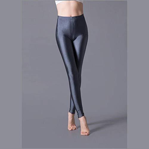 AOZLOVEC Leggings brillantes Leggings largos para mujer Pantalones elásticos Leggings básicos Casual Spandex Soft Multicolor Legging OneSize K036Darkgray