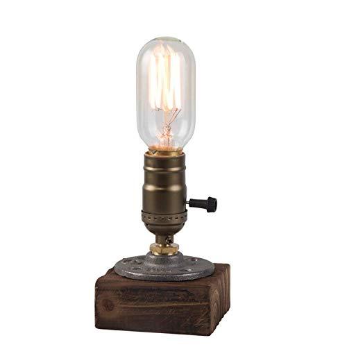 MZStech E27 Vintage Wood Blocks Tischlampe Schreibtischlampe für Cafe Bar Studio Nachtlicht für Nachttischlampe, dimmbar mit einer Glühbirne