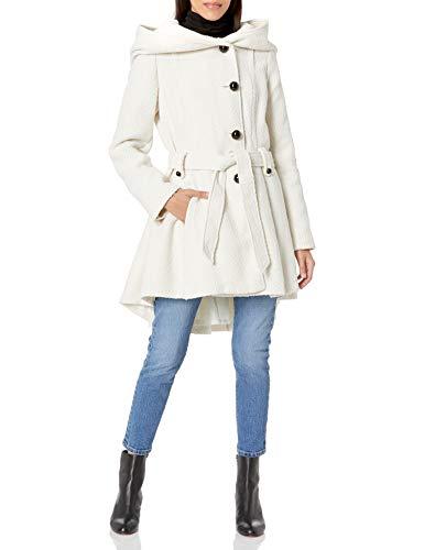 Steve Madden Women's Single Breasted Wool Coat, Ivory, Medium