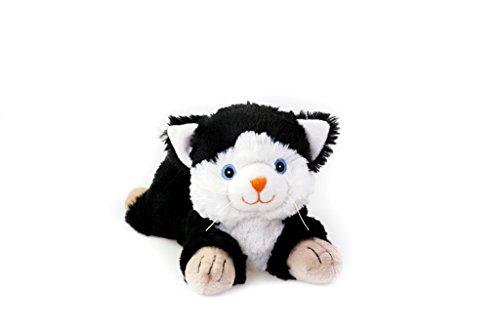 Habibi Plush Classic – 1828 Katze schwarz/weiß mit Hirsekörnerfüllung, Wärmestofftier zum Erwärmen in der Mikrowelle/Backofen