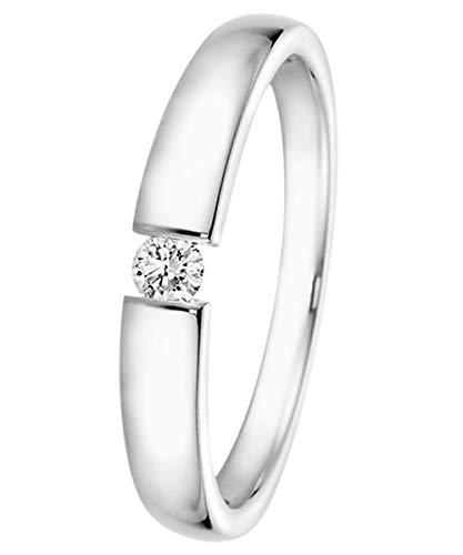 trendor Brillant-Ring 0,10 ct Weißgold 585 für Antrag oder Verlobung 532503-54/17,2 Ringgröße 54/17,2