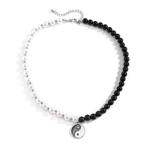 N/A Halskette Fließende Hip-Hop-Netz Berühmtheit die gleiche Tai Chi Klatsch Halskette Anhänger Nische Yin und Yang Schwarz-Weiß-Paar Halskette Anhänger Damen-Halskette Geschenk für Mutter