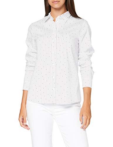Seidensticker Damen Hemdbluse Langarm Gestreift Schmal Bluse, White 01, 36