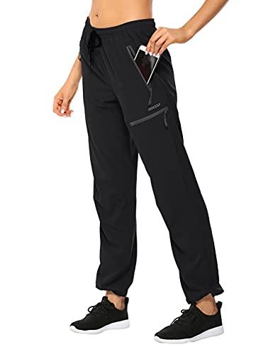 MOCOLY Women's Cargo Hiking Pants Elastic Waist Quick Dry Lightweight Outdoor Water Resistant Long Pants UPF 50+ Black M