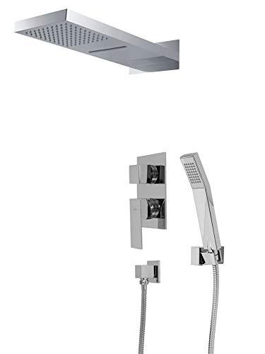 Komplettes Dusch Set Wasserfall und Regenschauer 3Wege Unterputz Umsteller Chrom Sanlingo