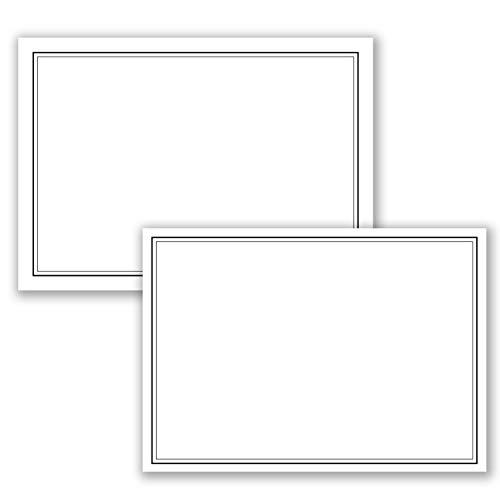 25 x Set Trauereinzelkarten DIN A6 + Trauerumschläge DIN C6 - Mit schwarzem Trauer-Doppelrahmen - 10,5 x 14,8 cm - bedruckbar - Kondolenz Set für Danksagung Trauer