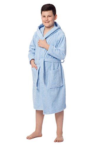 ZOLLNER Peignoir pour enfants avec capuche, coton, 140/152, 8-11 ans, bleu