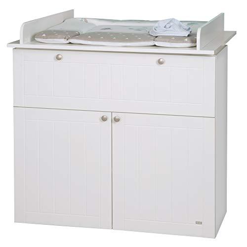 roba Cómoda con cambiador'Mia', estilo rústico, color blanco, 1 cajón, 2 puertas, altura del cambiador de 93 cm