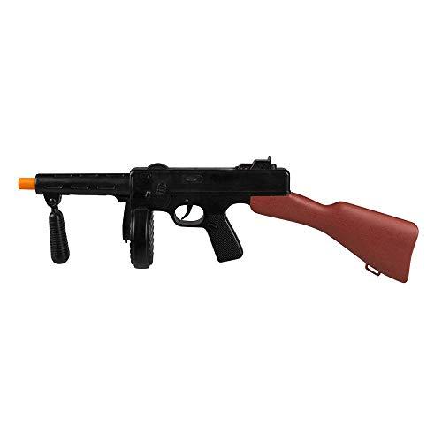 Boland 00629 - Maschinengewehr, 1 Stück, Länge 49 cm, Farbe: Schwarz-Braun, Gewehr aus Kunststoff, Waffe mit Geräusch, für Soldat und Gangster, Kostüm, Verkleidung, Accessoire, Mottoparty, Halloween