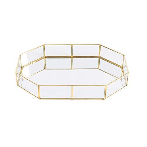 Cratone Plateau Cosmétique Boîte de Rangement pour Boîte à Bijoux Boîte à Bijoux Structure Octogonale en Verre Plateau Décoratif Transparent Stockage de Petits Objets