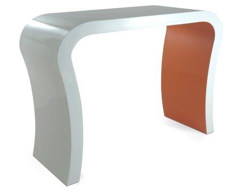 Zespoke Alto Brillo Blanco y Naranja Moderna Consola Pasillo Diseñador/Tocador/Aparador