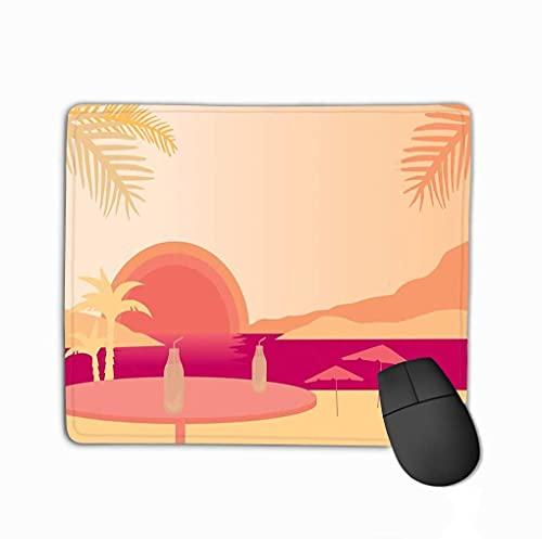 Mauspad Strand Palmen Sonnenschirme Tisch Obstgetränk unter Abendhimmel Sonnenuntergang Natur Rechteck Gummi Mousepad