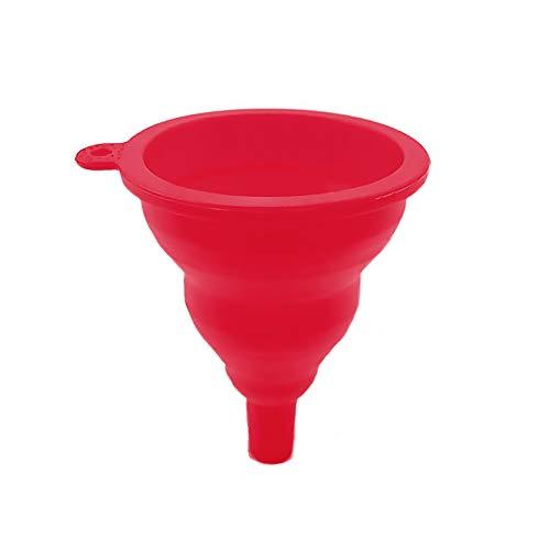 CTGVH Embudo Plegable de Silicona Transferencia de líquido y Polvo, para el hogar, Silicona, Rojo, 10 cm