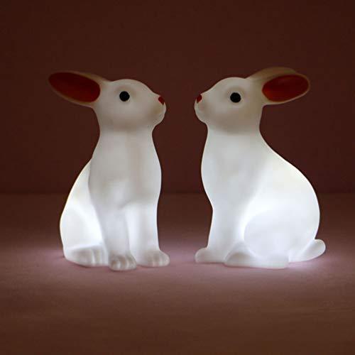 FRCOLOR 2 Piezas de Lámpara de Conejo Luz de Noche de Conejo de Pascua LED con Forma de Animal Lámpara de Noche Decorativa para Dormir Ambiente de Fiesta de Estatuilla de Conejo Luces de